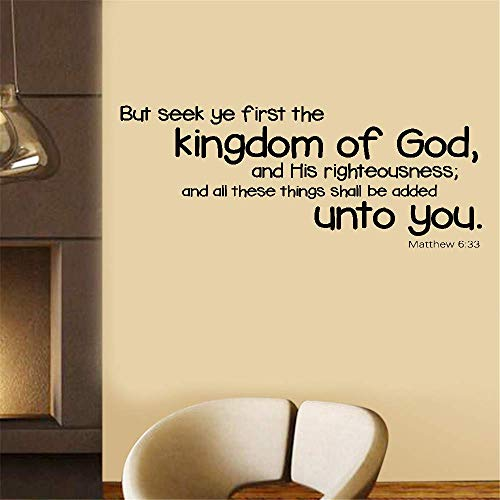 (Iunant Wall Sticker Quotes Decals Decor Vinyl Art Stickers Bible But Seek Ye First The Kingdom of God and His Righteousness and All These Things Shall for Living Room Bedroom)