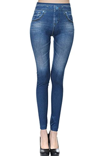 De Femmes Slim Faux En Jeans De Un Les Jambires Longueur blue Denim Pleine xxnHRUT
