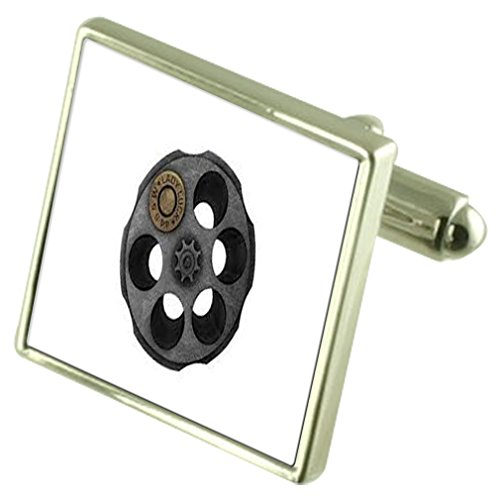 Select Gifts Russian Roulette Sterling Silver Cufflinks Optional Engraved Box ()