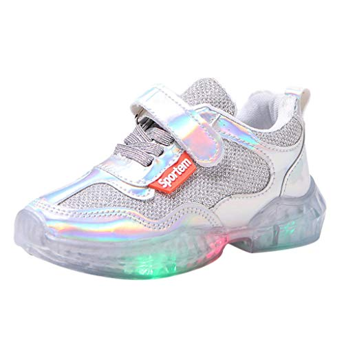 Children Kids LED Light Up Shoes Toddler Baby Girls Boys Breathable Reflective Surface Flashing Sneakers Sport Gift Silver