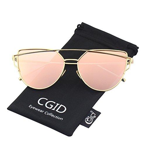 da1d87ed973 CGID Women s Modern Fashion Mirror Polarized Cat Eye Sunglasses Goggles  UV400