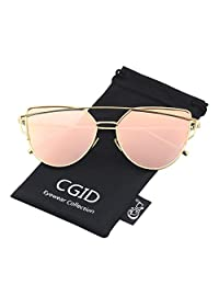 CGID Women's Modern Fashion Mirror Polarized Cat Eye Sunglasses Goggles UV400,Gold Pink