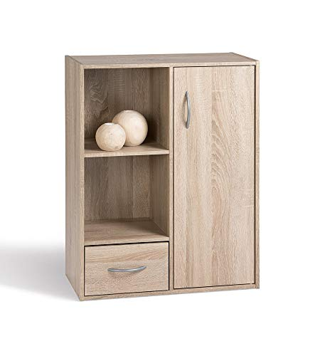Alsapan Compo Meuble de Rangement 2 Casiers + 1 Tiroir + 1 Porte Bibliothèque Etagères Cubes Chêne 80 x 61,5 x 29,5 cm