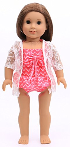 American Girl Doll Clothes - Red Swimsuit/Bathing Suit with Coverup for 18inch American Girl Dolls (For Dolls Inch Suits 18 Bathing)