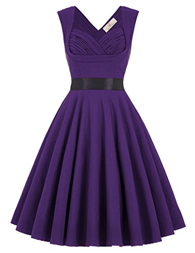 50's Style Rockabilly Dress Knee Length Bridesmaid Dresses Size L CL8948-6