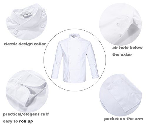 Nanxson(TM Kitchen Cotton Uniform Roll-up Sleeve Chef Working Coat with Air Mesh CFM0028 (White, L) by Nanxson (Image #1)