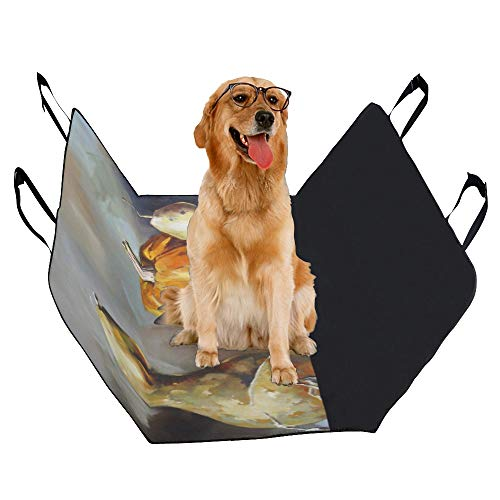 XINGCHENSS Fashion Oxford Pet Car Seat Pumpkin Vegetable Organic Decorative Crop Painting Art Waterproof Nonslip Canine Pet Dog Bed Hammock Convertible for Cars Trucks SUV