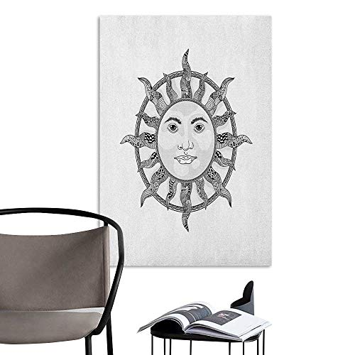 (Stickers Wall Murals Decals Removable Sun Monochrome Ornamental Zentangle Heavenly Body with Human Face Design Ethnic Pattern Black White Living Room Wallpaper W16 x)