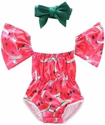 5f133d412 Karoleda Infant Baby Girls Kids Off Shoulder Clothing Set Printed  Romper+Headband Bodysuit Outfits