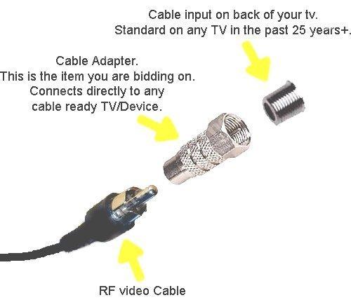 Atari 2600 RF TV Coaxial F Plug Female Adapter