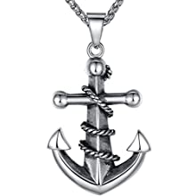 Men's Stainless Steel Biker Pendant Necklace with Large Rope Anchor