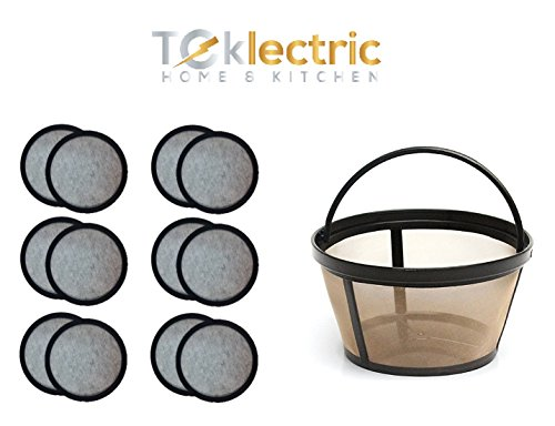 Teklectric 8-12 Cup Permanent Mr. Coffee Basket-Style Coffee Filter & Set of 12 Water Filters for Mr. Coffee Coffee Maker and Brewer by Tekletric