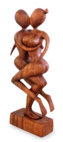 "NOVICA Large Brown Romantic Suar Wood Sculpture, 17.25"" Tall 'Dancers Kiss'"