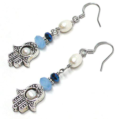 Pewter Hamsa Hand Protective Amulet Pierced Earrings Cultured Freshwater Pearl Light Blue Glass