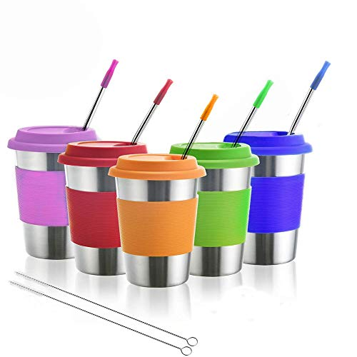 Kids Stainless Steel Cups Metal Drinking Glasses with Silicone Lids ampSleevesamp Straws BPAFree Perfect for Indoor and Outdoor Activities of Children and Adults by Dorihom(5 Pack 12 oz)