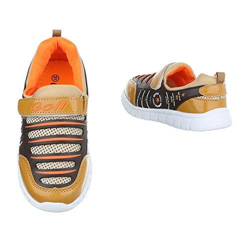 Ital-Design - Tobillo bajo Niños marrón y naranja