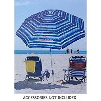 Tommy Bahama Sand Anchor 7 feet Beach Umbrella with Tilt and Telescoping Pole (Blue/White)