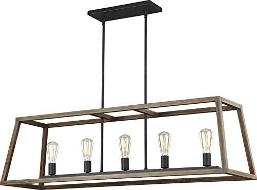 Feiss F3193 5WOW AF Gannet Farmhouse Island Chandelier Lighting, Brown, 5-Light 50 L x 15 H 300watts