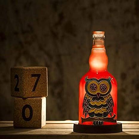 Kavi Colorful Owl Orange Bottle Lamp Perfect Gift For