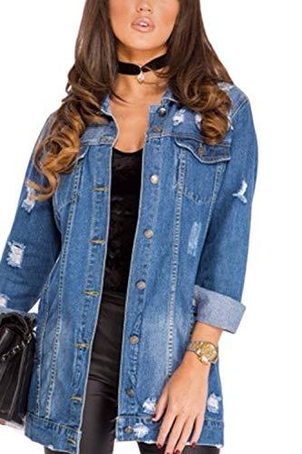 Lunga Giacca Strappato Con Blau Bello Multi Sciolto Donna Outerwear Hipster Taglie Giacche Forti Colore Giaccone Autunno Allentato Elegante Ragazza tasca Primaverile Manica Puro Fashion Jeans Button x6SpwCq