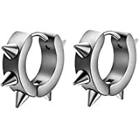 jinjiu Men Women Stainless Steel Punk Cool Circle Spike Huggie Studs Earrings (Silver)