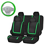 FH Group FB032114 Unique Flat Cloth Full Set Car Seat Covers, Green/Black w, 1 Silicone Steering Wheel Cover- Fit Most Car, Truck, Suv, or Van