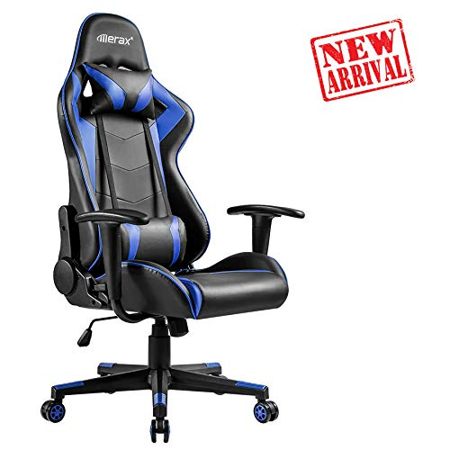 Desk Youth Student - Merax Gaming Chair High Back Computer Chair Ergonomic Design Racing Chair (Dark Blue(for Early)