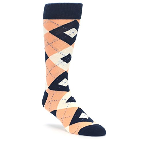 Statement Sockwear Men's Argyle Groomsmen Wedding Socks (Peach Navy) by Statement Sockwear
