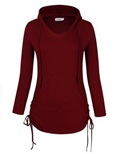 Women V Neck Full Sleeve Kangaroo Pocket Drawstring Hooded Shirt - Wine Red Large