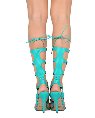 Breckelles ED06 Women Leatherette Peep Toe Studded Stiletto Gladiator Sandal Aqua pLv7x