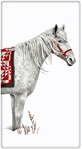 Holiday Blanket White Horse 100% Cotton Flour Sack Dish Tea Towel - Mary Lake Thompson 30
