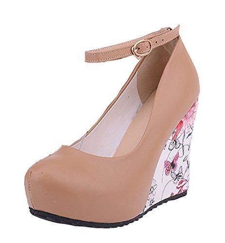 Aisun Womens Jolies Fleurs Bout Rond Robe Plate-forme Talons Hauts Wedge Pompes Chaussures Avec Des Sangles De Cheville Abricot