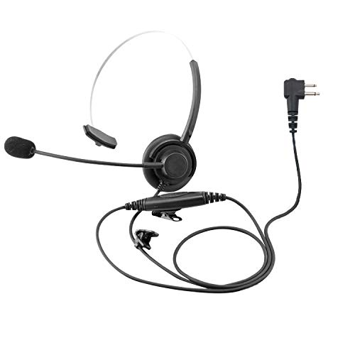 ProMaxPower Two Way Radio Light Weight Single Muff Headset with Boom Microphone for Motorola CP100 CP200D CLS1410 PR400
