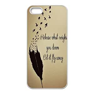 Feather Quote Fly DIY Cover Case for Iphone 5,5S,personalized phone case ygtg616321