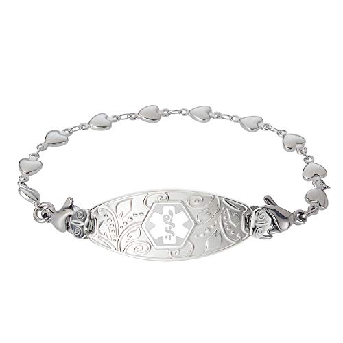 Divoti Custom Engraved Medical Alert Bracelets for Women, Stainless Steel Medical Bracelet, Medical ID Bracelet w/Free Engraving - Lovely Filigree Tag w/Heart Link -White-7.0