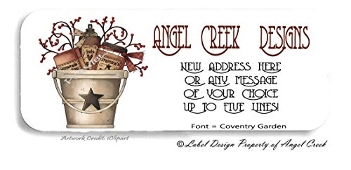 60 Country Rustic Pail Berries Star Personalized Return Address Labels ()