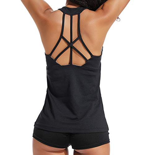 FITTOO Women's Sexy Backless Yoga Fitness Tank Tops Built in Bra Racerback Workout Shirts Black M