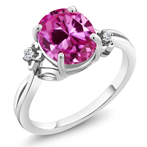 Gem Stone King 3.29 Ct Oval Pink Created Sapphire White Topaz 925 Sterling Silver Ring (Size 7)