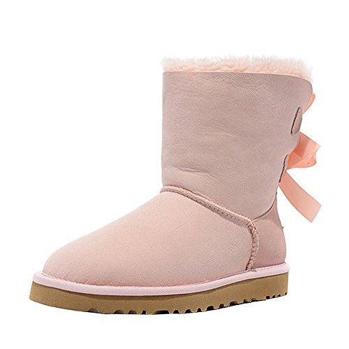 Bow Boots With Pink Winter EKS Warm Leather Women's Flat Genuine Snow Fashion Wwfxq7vR8x