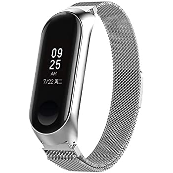 XIHAMA for Xiaomi Mi Band 3 Metal Strap,Milanese Loop Replacement Band Stainless Steel Bracelet Fitness Sports Wristband with Magnetic Closure (Silver, ...