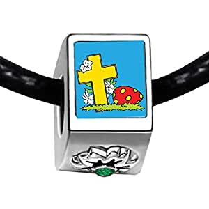 Chicforest Silver Plated Easter Day yellow cross cartoon Photo Emerald Green Crystal May Birthstone Flower Charm Beads Fits Pandora Charms
