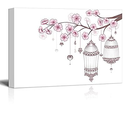 Cages of Birds on a Blooming Cherry Branch Wall Decor 32