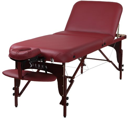 Sierra Comfort Premium Adjustable Backrest Portable Massage Table, Burgundy by SierraComfort
