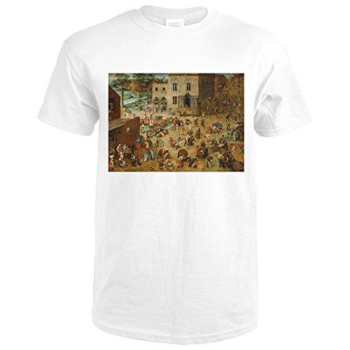 Elder Pieter Childrens Games - Children's Games - Masterpiece Classic - Artist: Pieter Bruegel the Elder c. 1560 (Premium White T-Shirt X-Large)