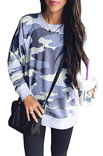 Women Camouflage Print Long Sleeve Crew Neck Loose Fit Casual Sweatshirt Pullover Tops Shirts Blue