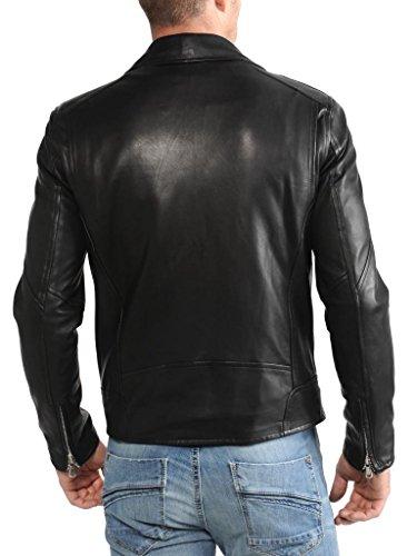 Uomo Outwear Giacche Auk042 Cappotto Moto Giacca Da Biker Fit Slim In Pelle Black qvzTnxpt