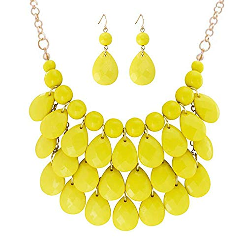 Zthread Floating Bubble Necklace Layered Teardrop Statement Necklace Resin Beaded Collar Necklace Earrings Jewelry Set for Women Yellow