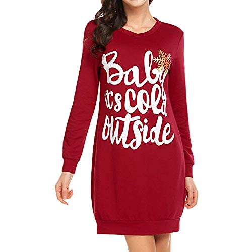COPPEN Women's Dresses Letter Printed Letter Long Sleeve Dress Evening Mini Dress ()