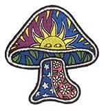 Mushroom W/ Sun Stars Daisy Hippie Embroidered iron on Patch