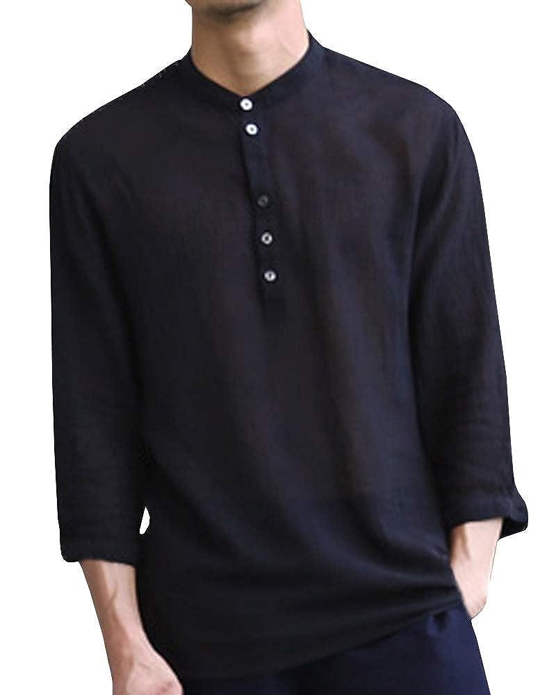 c585f6b49f97 Makkrom Mens Linen 3 4 Sleeve Henley Shirts Cotton Loose Casual Summer Beach  T Shirt Tops at Amazon Men s Clothing store